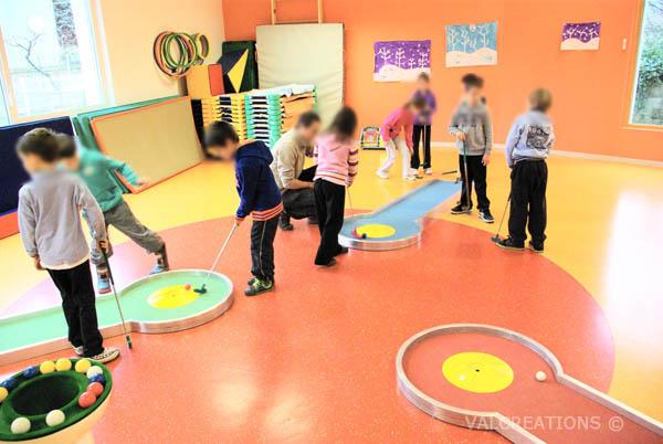 minigolf itinérant à l'école ou en centre de loisirs, plaine de jeux etc.