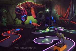 mini golf interieur blacklight dinosaure