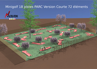 plan d'un mini golf modulable 18 pistes