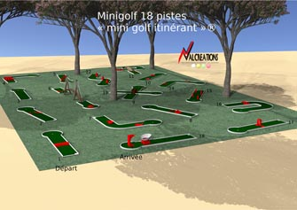 plan d'un mini golf modulable mobiles 18 pistes