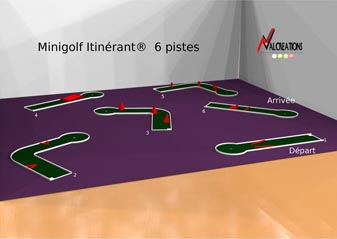 plan d'un mini golf modulable mobiles 6 pistes