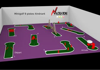 plan d'un mini golf modulable mobiles 9 pistes